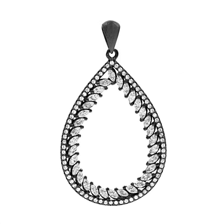 PA2113W-B STERLING SILVER 925 BLACK RHODIUM PLATED CLEAR WHITE CZ PENDANT