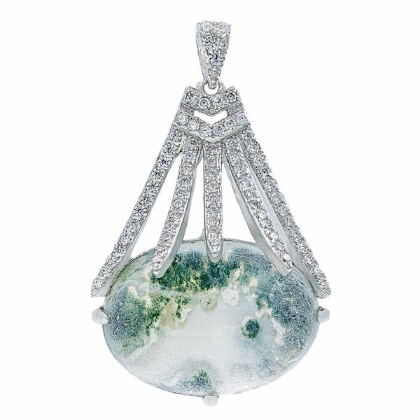 PA2155G STERLING SILVER 925 RHODIUM PLATED MOSS AGATE AND CZ PENDANT