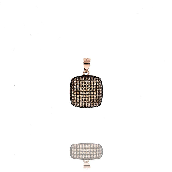 PA2288F-R STERLING SILVER 925 ROSE GOLD PLATED FINISH PAVE CZ PENDANT