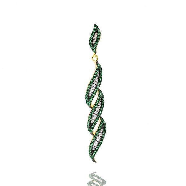 PA2341G-G STERLING SILVER 925 GOLD PLATED FINISH EMERALD COLOR BAGUETTE PENDANT