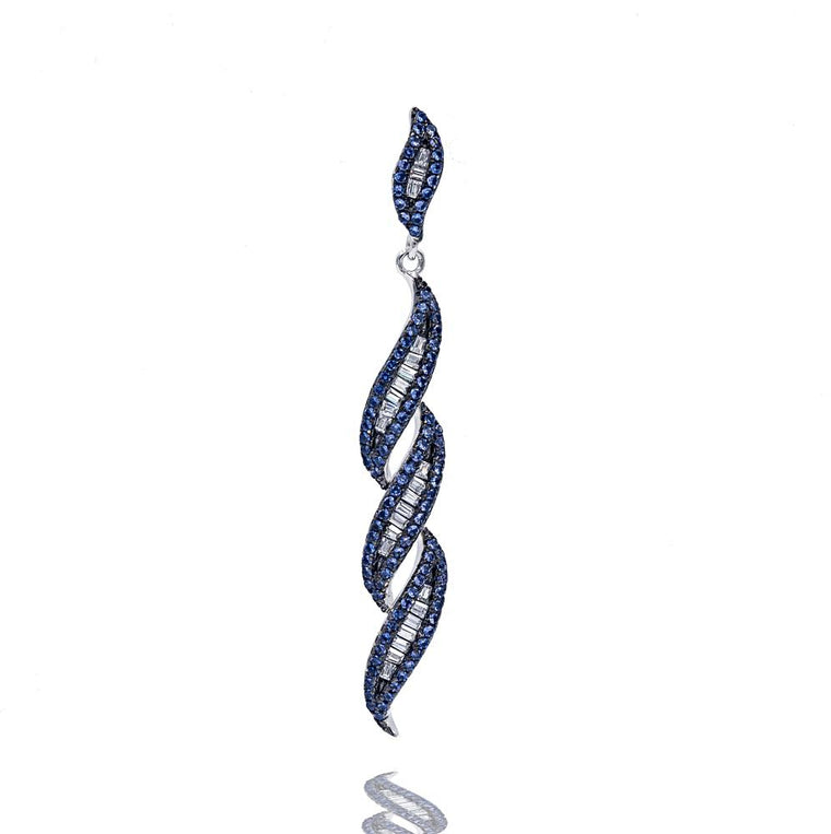 PA2341N STERLING SILVER 925 RHODIUM PLATED FINISH SAPPHIRE COLOR BAGUETTE PENDANT