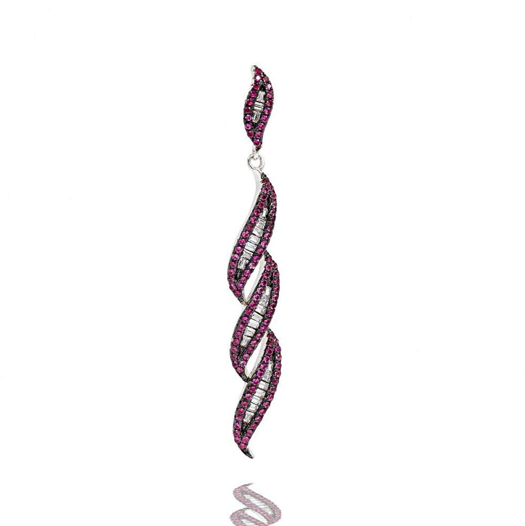 PA2341R STERLING SILVER 925 RHODIUM PLATED FINISH RUBY COLOR BAGUETTE PENDANT