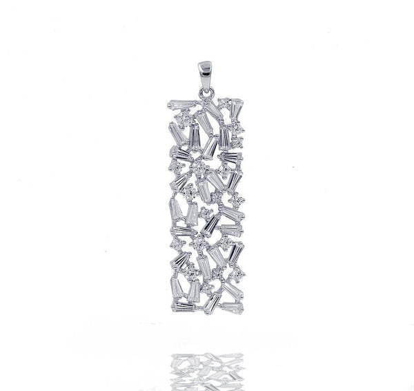 PA2372W STERLING SILVER 925 RHODIUM PLATED FINISH BAGUETTE DROP PENDANT