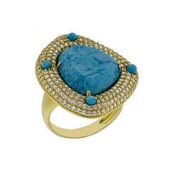 RI1246D-G STERLING SILVER 925 GOLD PLATED FINISH TURQUOISE FANCY RING