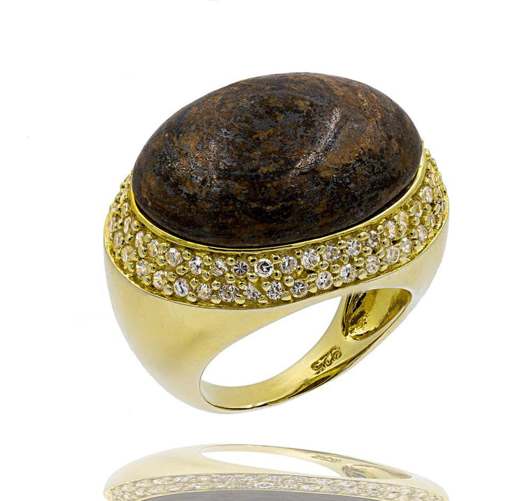 RI1770E-G STERLING SILVER 925 GOLD PLATED FINISH BRONZITE FANCY RING