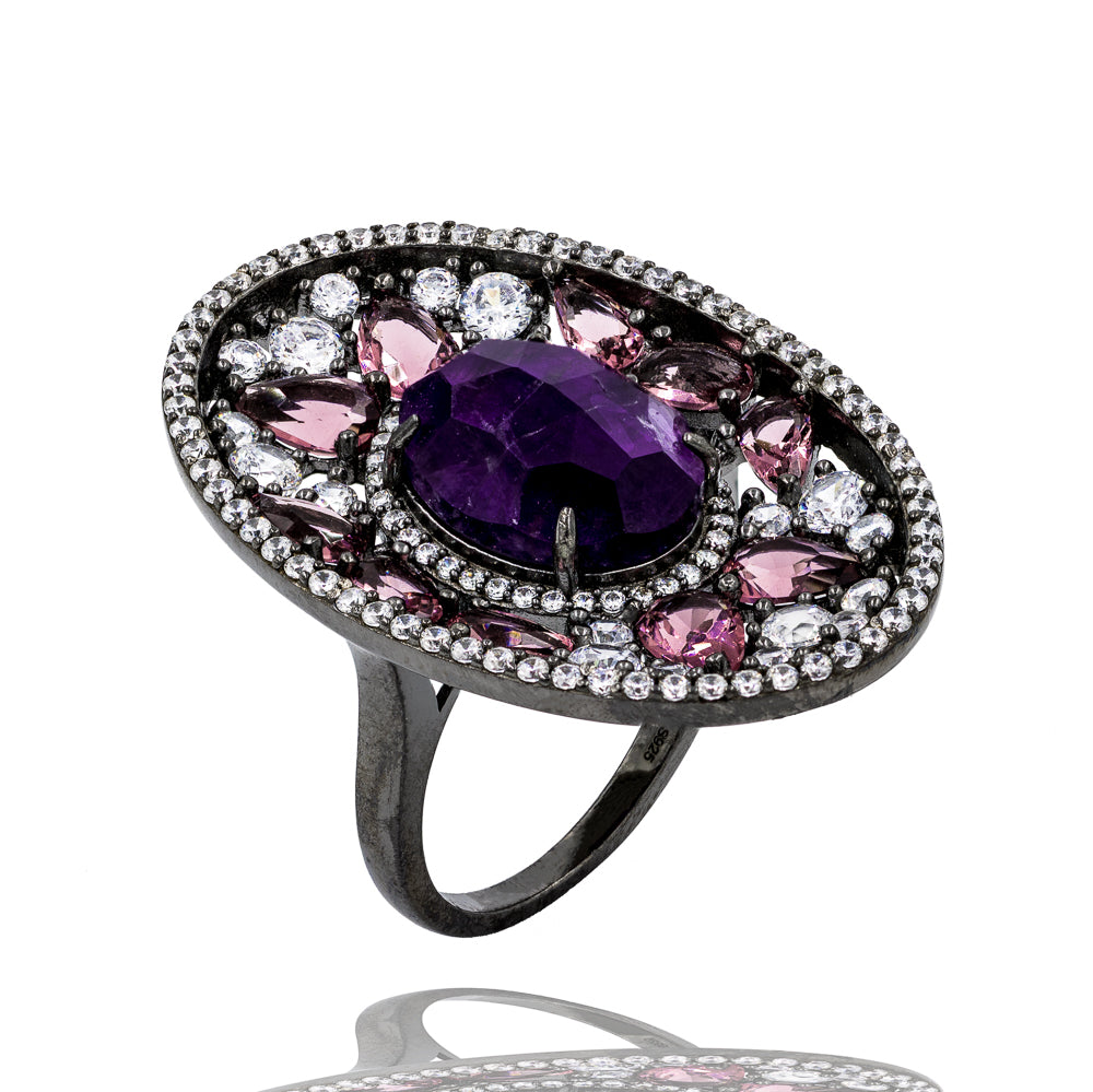 RI1953P-B STERLING SILVER 925 BLACK RHODIUM PLATED FINISH AMETHYST FANCY RING