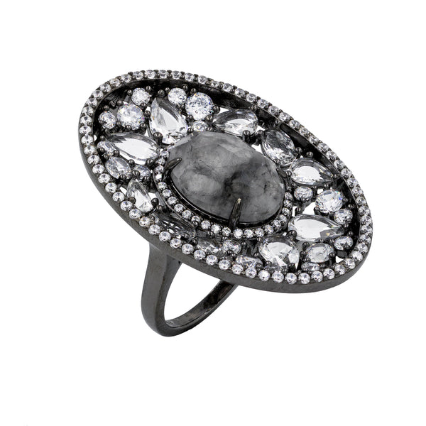 RI1953S STERLING SILVER 925 BLACK RHODIUM PLATED FINISH GRAY AGATE FANCY RING