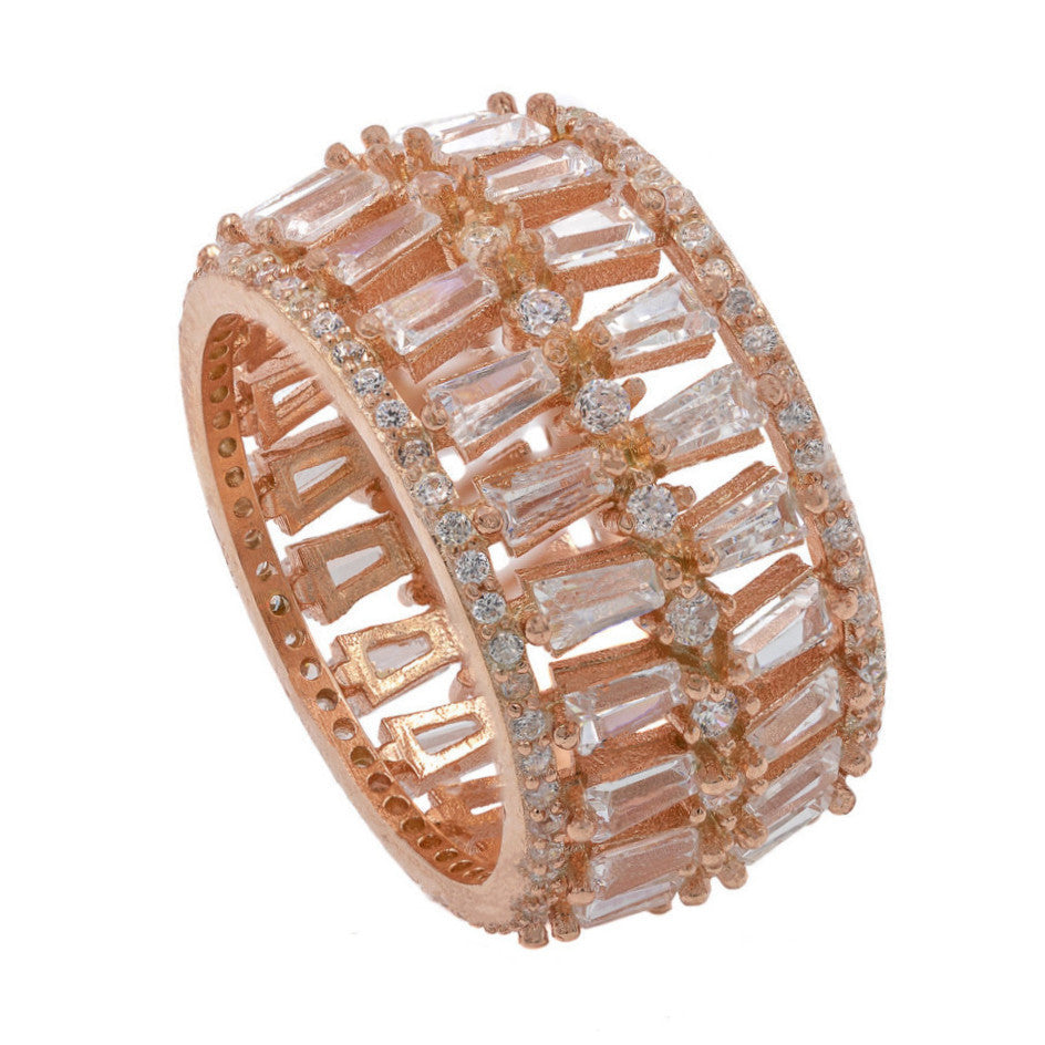 RI2044W-R  STERLING SILVER 925 ROSE GOLD CLEAR CZ RING