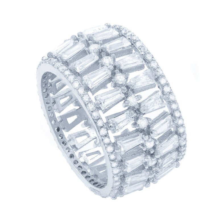 RI2143W  STERLING SILVER 925 RHODIUM PLATED CLEAR CZ RING
