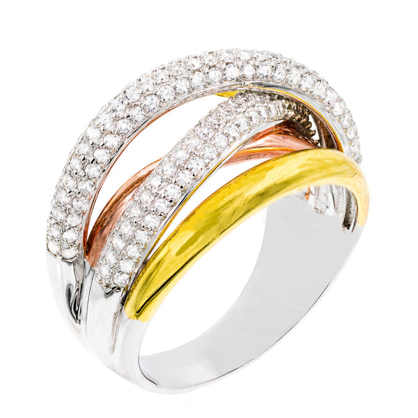 RI2088 STERLING SILVER 925 RHODIUM, GOLD AND ROSE GOLD PLATED CLEAR CZ RING