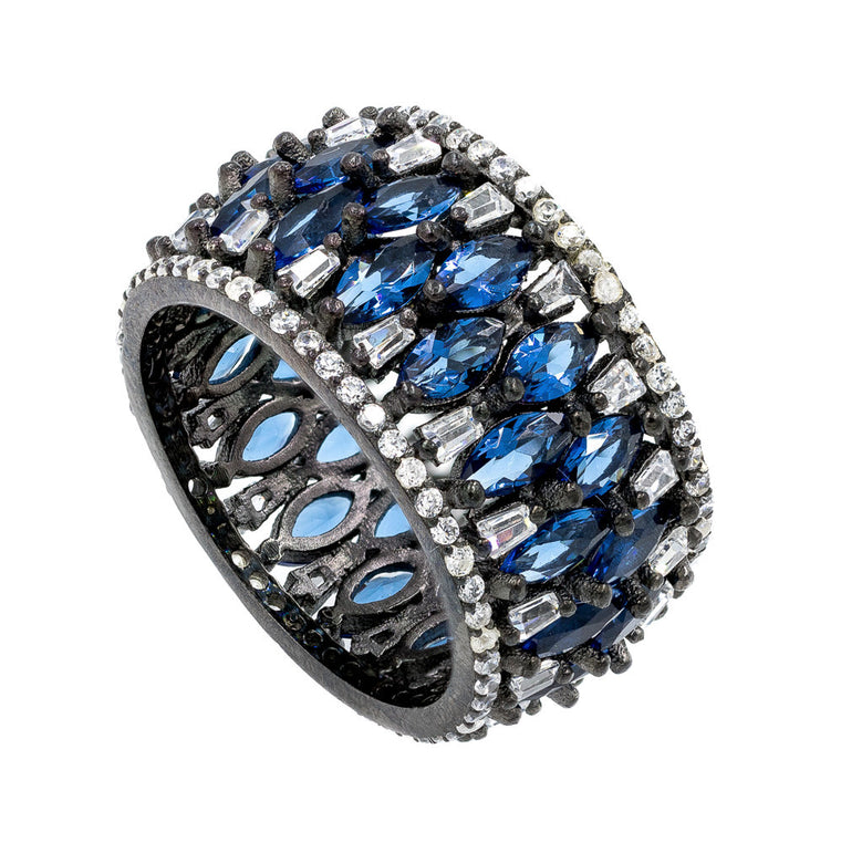 RI2143WN-B  STERLING SILVER 925 BLACK RHODIUM BLUE SAPPHIRE CZ RING