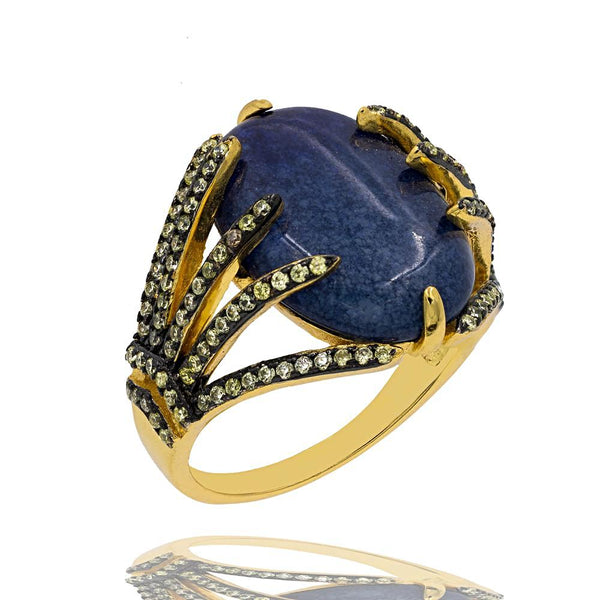 RI2155NG-G STERLING SILVER 925 GOLD PLATED FINISH BLUE AGATE FANCY RING