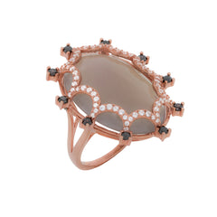 RI2165KR STERLING SILVER 925 ROSE GOLD PLATED FINISH GRAY AGATE FANCY RING