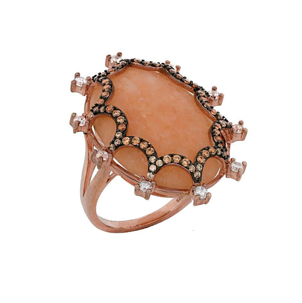 RI2165KF-R STERLING SILVER 925 ROSE GOLD PLATED PEACH AGATE FINISH FANCY RING