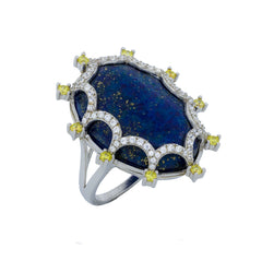 RI2165NY STERLING SILVER 925 RHODIUM PLATED FINISH LAPIS LAZULI FANCY RING