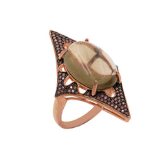 RI2168F-G STERLING SILVER 925 ROSE GOLD PLATED FINISH SMOKEY QUARTZ FANCY RING