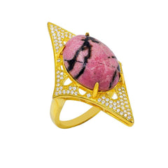 RI2168I-G STERLING SILVER 925 GOLD PLATED FINISH RHODONITE FANCY RING