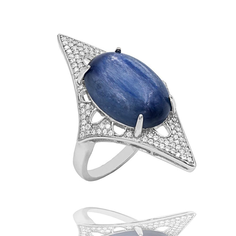 RI2168N STERLING SILVER 925 RHODIUM PLATED FINISH KYANITE FANCY RING