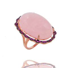 RI2169IR-R STERLING SILVER 925 ROSE GOLD PLATED FINISH ROSE QUARTZ FANCY RING