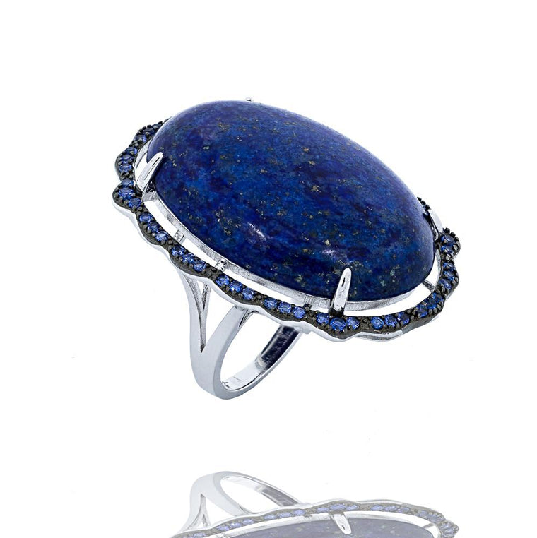 RI2169N STERLING SILVER 925 RHODIUM PLATED FINISH LAPIS LAZULI FANCY RING