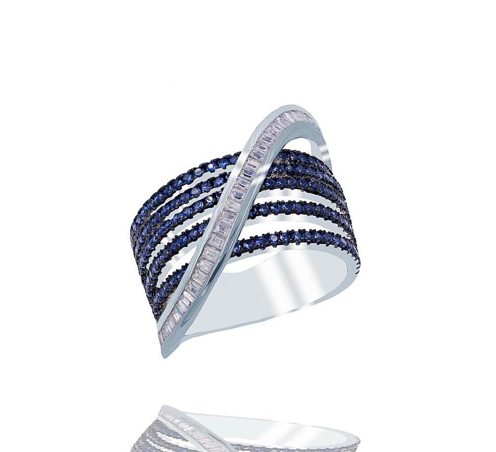 RI2344N STERLING SILVER 925 RHODIUM PLATED FINISH SAPPHIRE BAGUETTE RING
