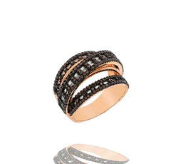 RI2347F-R STERLING SILVER 925 ROSE GOLD PLATED FINISH CHOCOLATE BAGUETTE RING