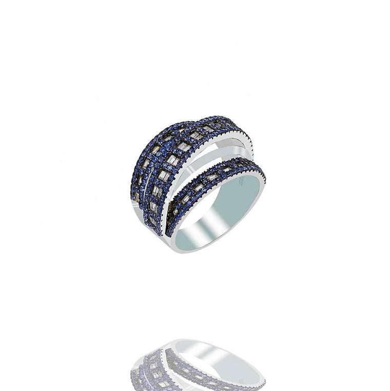 RI2347N STERLING SILVER 925 RHODIUM PLATED FINISH SAPPHIRE BAGUETTE RING