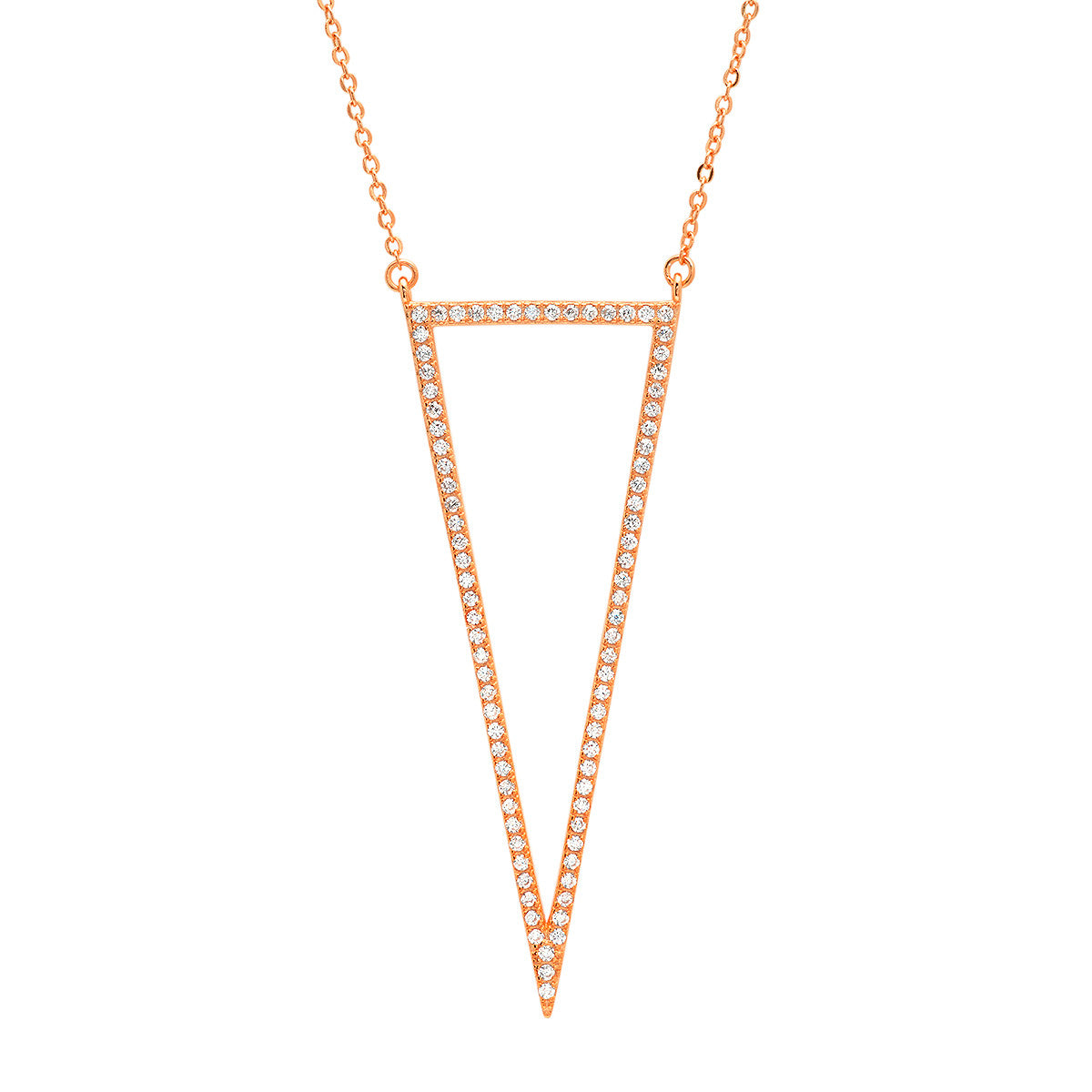 ZDN3162 STERLING SILVER 925 ROSE GOLD PLATED FINISH CZ TRIANGLE OUTLINE NECKLACE