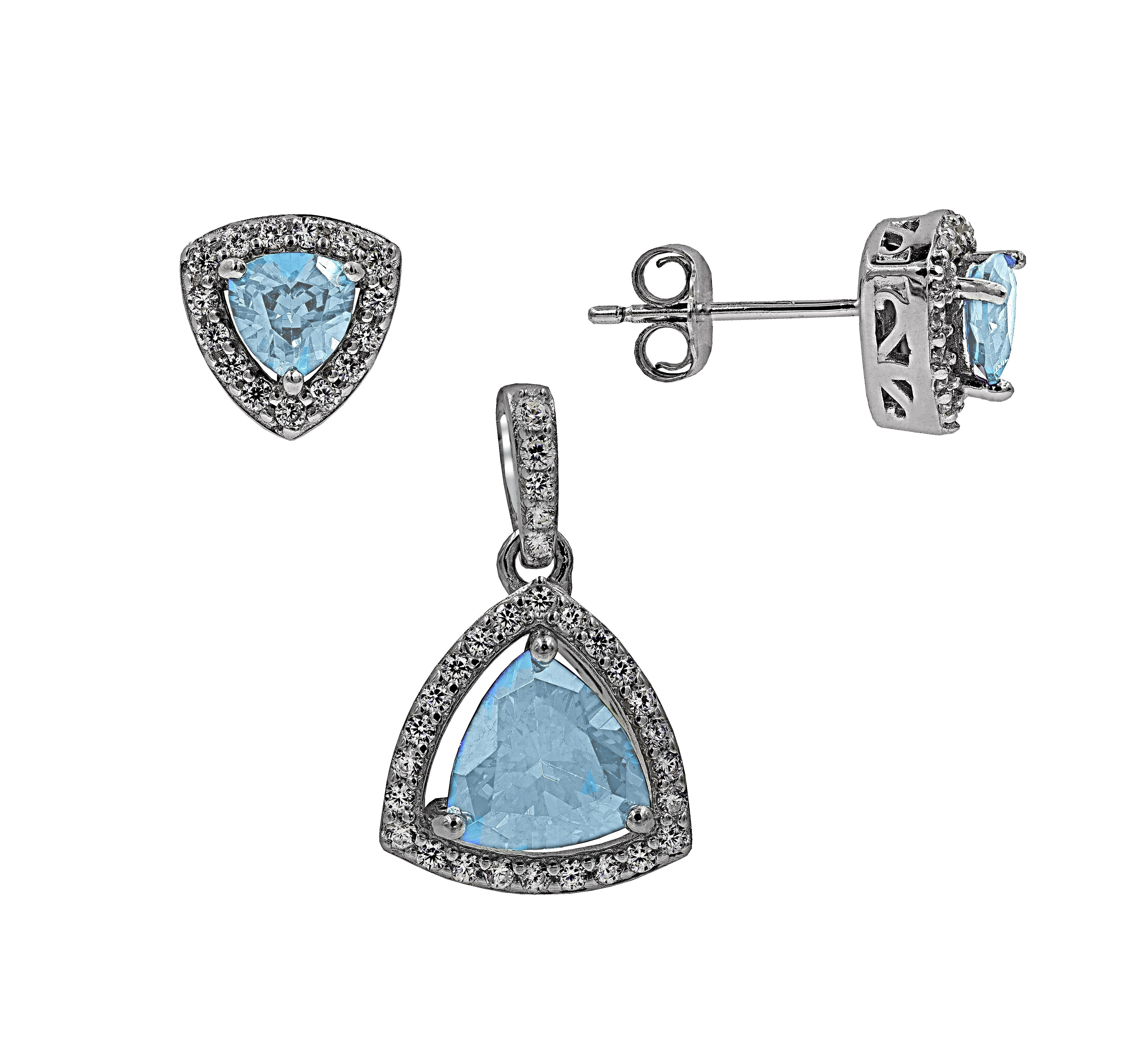 ZDS2101-A STERLING SILVER 925 RHODIUM PLATED FINISN AQUA CUBIC ZIRCONIA SET