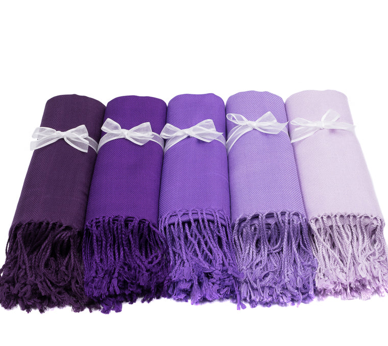 PASHMINA SET OF 5 VIOLET PALETTE SOLID COLOR