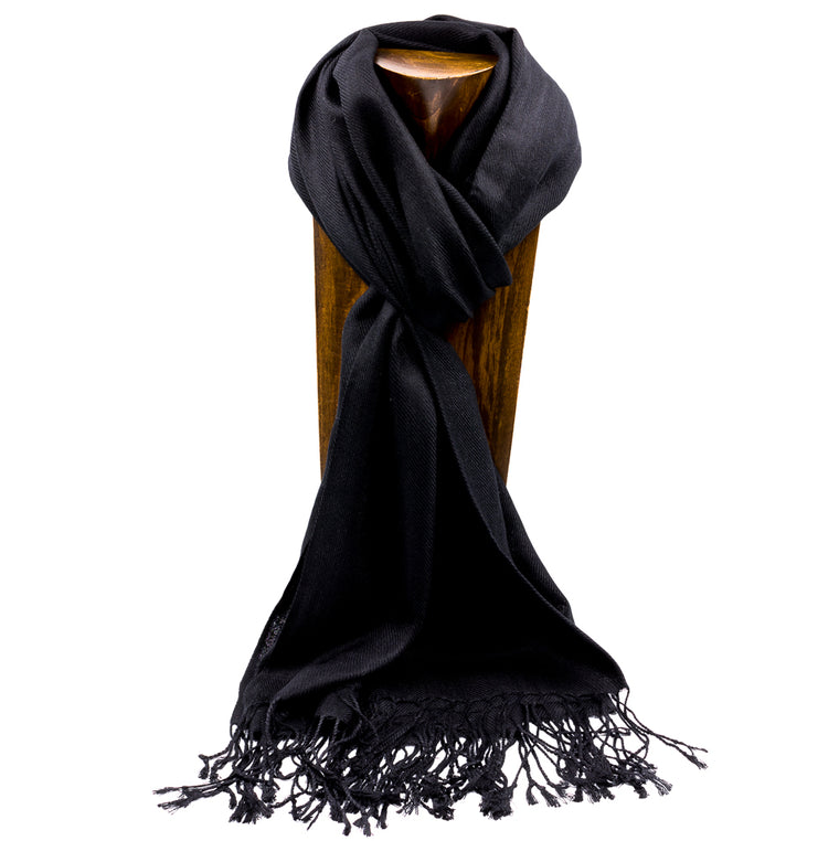 PASHMINA, SHAWL, SCARF BLACK SOLID COLOR