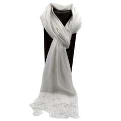 PASHMINA, SHAWL, SCARF WHITE SOLID COLOR