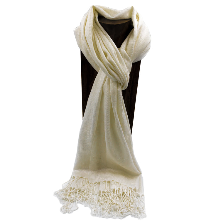 PASHMINA, SHAWL, SCARF OFF WHITE SOLID COLOR