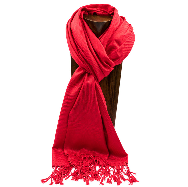 PASHMINA, SHAWL, SCARF RED SOLID COLOR