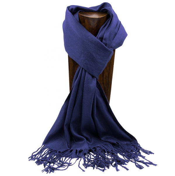 PASHMINA, SHAWL, SCARF NAVY BLUE SOLID COLOR