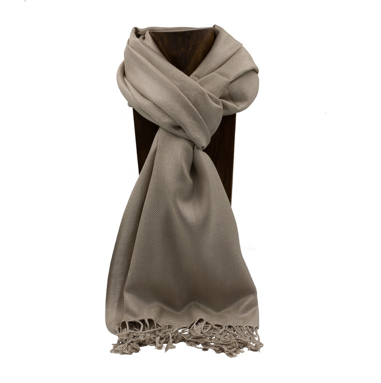 PASHMINA, SHAWL, SCARF KHAKI SOLID COLOR
