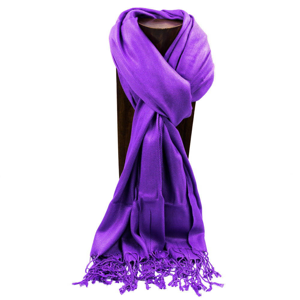 PASHMINA, SHAWL, SCARF PURPLE SOLID COLOR