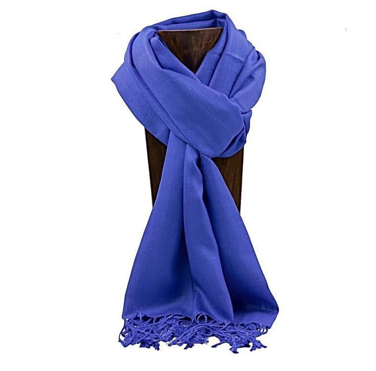 PASHMINA, SHAWL, SCARF ROYAL BLUE SOLID COLOR
