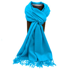 PASHMINA, SHAWL, SCARF TURQUOISE SOLID COLOR