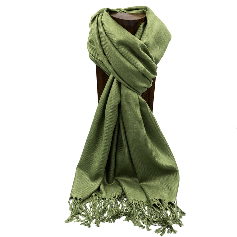 PASHMINA, SHAWL, SCARF OLIVE GREEN SOLID COLOR