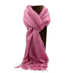 PASHMINA, SHAWL, SCARF ROSE PINK SOLID COLOR