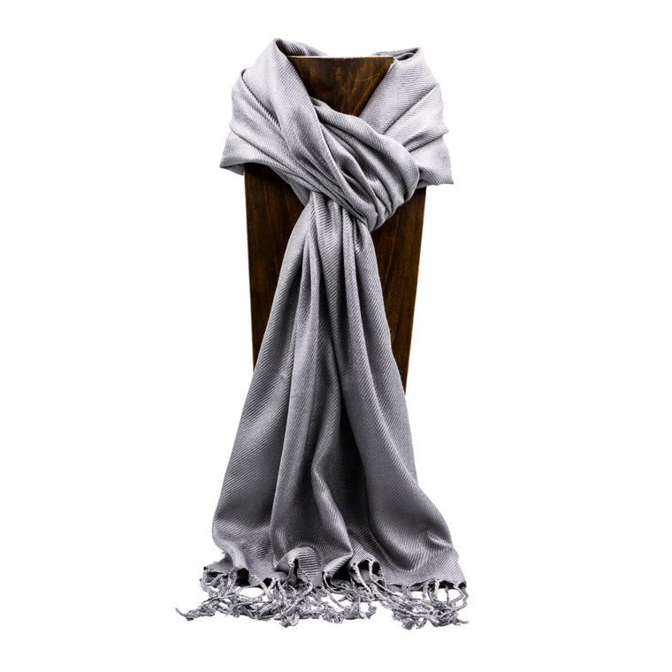 PASHMINA, SHAWL, SCARF GRAY SOLID COLOR