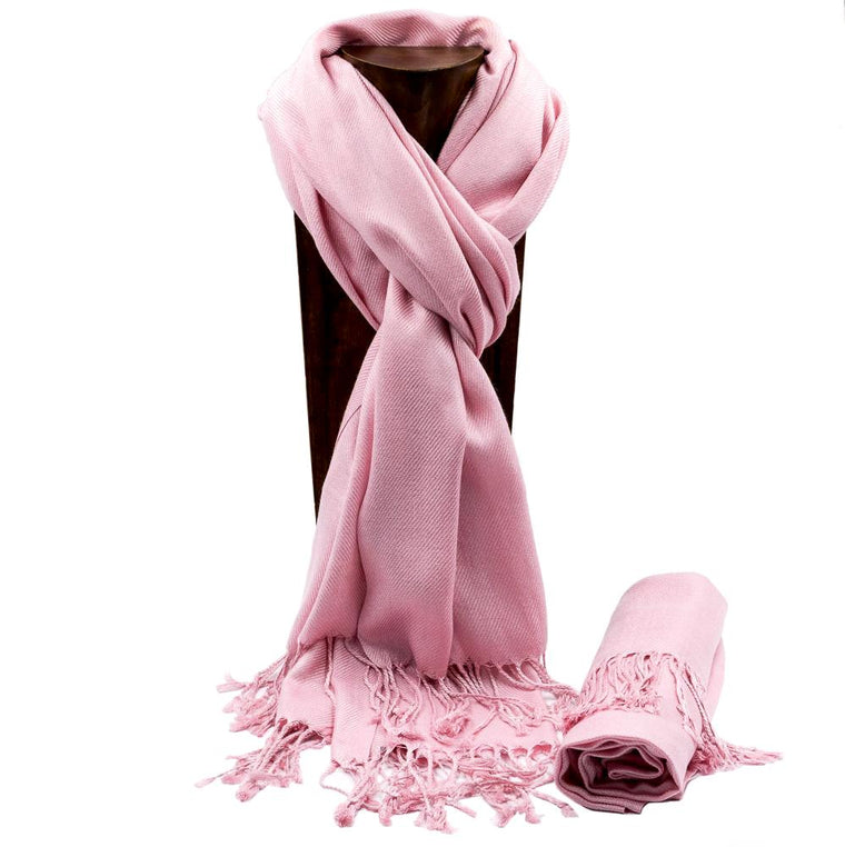 PASHMINA, SHAWL, SCARF PINK SOLID COLOR