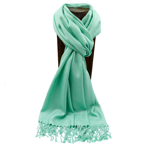 PASHMINA, SHAWL, SCARF GREEN SOLID COLOR