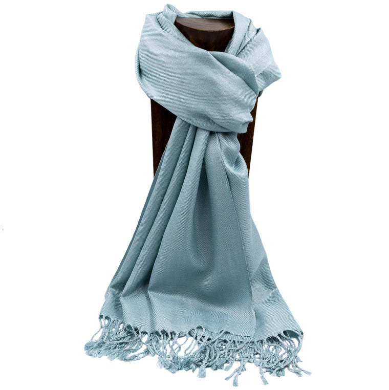 PASHMINA, SHAWL, SCARF SLATE BLUE SOLID COLOR