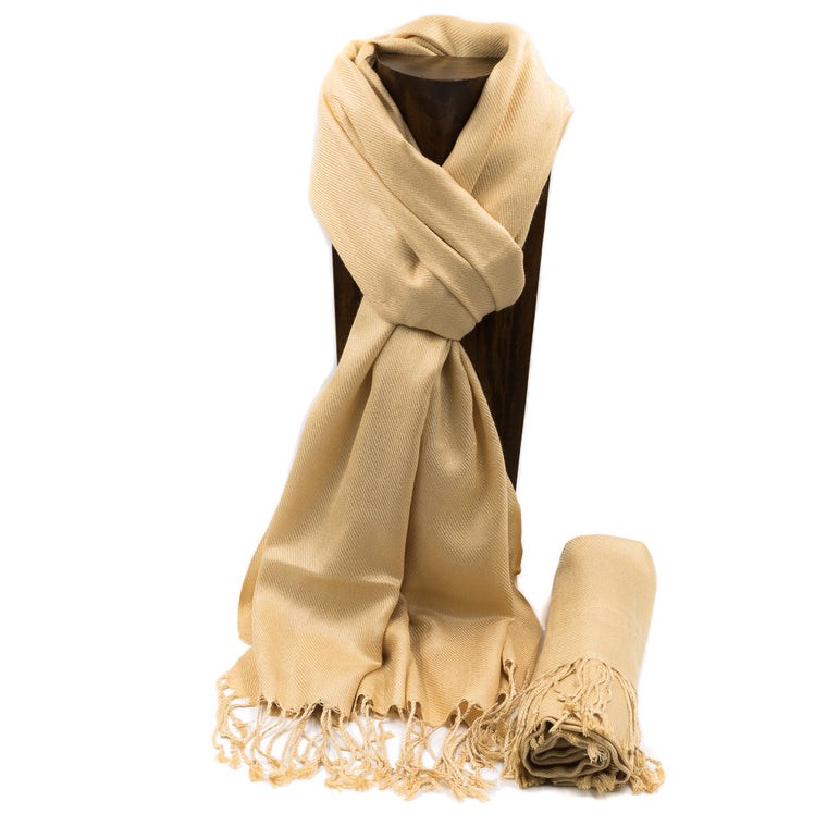 PASHMINA, SHAWL, SCARF CHAMPAGNE SOLID COLOR