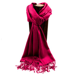 PASHMINA, SHAWL, SCARF BURGUNDY SOLID COLOR