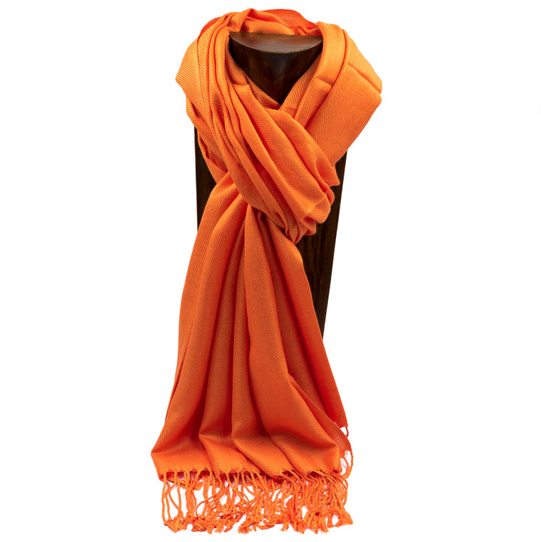 PASHMINA, SHAWL, SCARF ORANGE SOLID COLOR