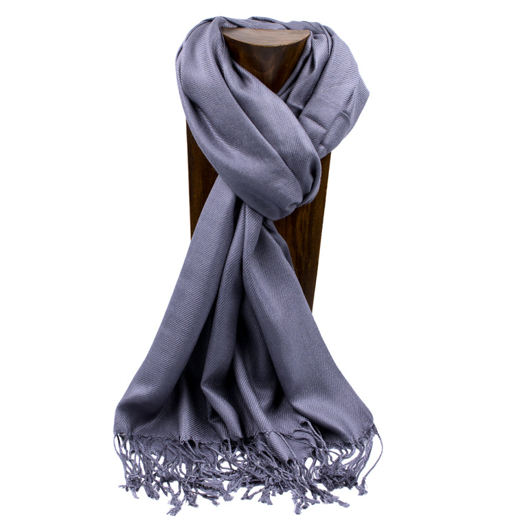 PASHMINA, SHAWL, SCARF DARK GRAY SOLID COLOR