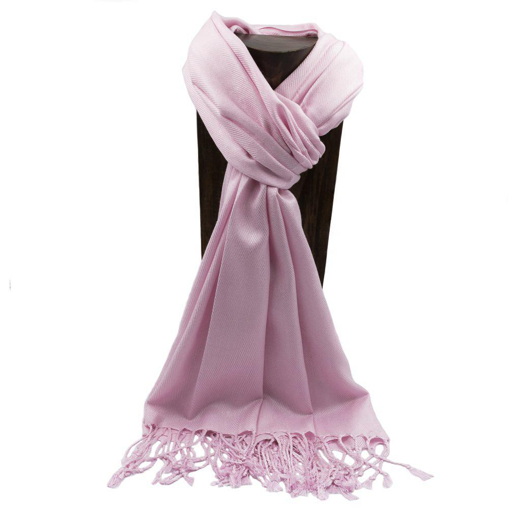 PASHMINA, SHAWL, SCARF BABY PINK SOLID COLOR